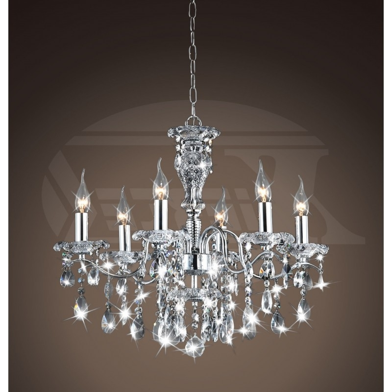 Creative Of Lighting Crystal Chandeliers Maddison Shine 6 Light With Widely Used Chrome And Glass Chandelier (View 7 of 10)