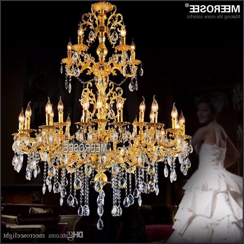 Crystal Gold Chandeliers In Most Recent Luxurious Gold Large Crystal Chandelier Lamp Crystal Lustre Light (View 2 of 10)