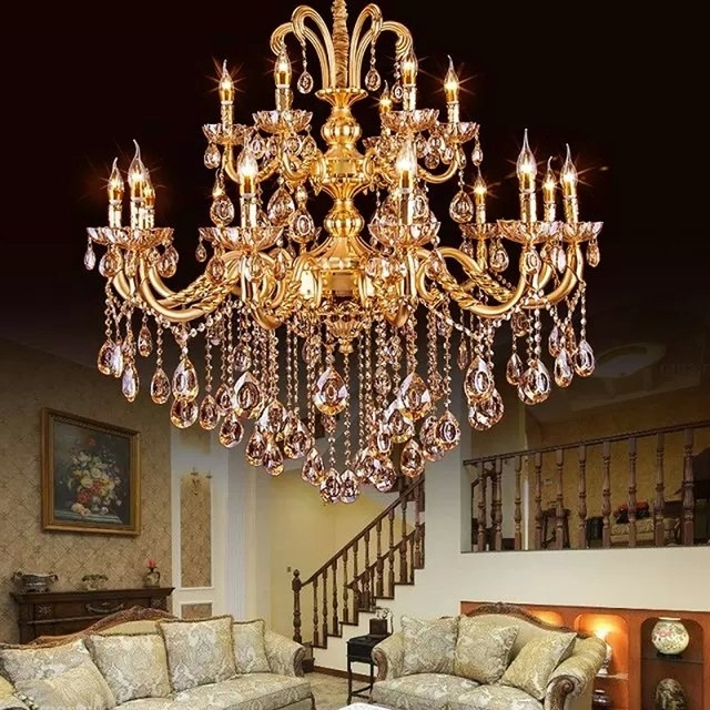 Crystal Gold Chandeliers Intended For Best And Newest Gold Crystal Chandelier Modern Gold Chandelier Lights Indoor (View 3 of 10)
