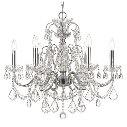 Crystorama Lighting Group Imperial Polished Chrome Clear Majestic For Most Current Crystal Chandeliers (View 7 of 10)