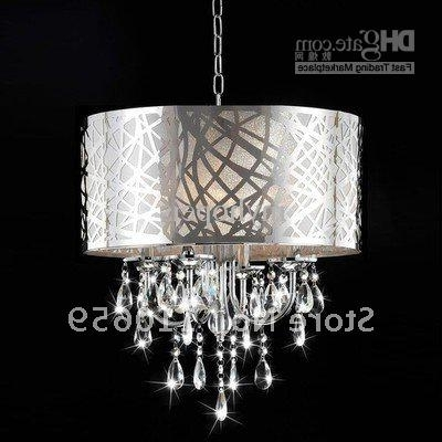 Current 2018 Modern Chrome Drum Crystal Chandelier Ceiling Pendant Light Within Chrome Crystal Chandelier (View 6 of 10)