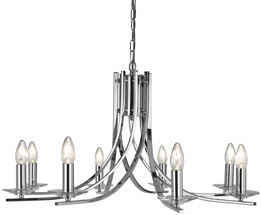 Current Ascona Modern Polished Chrome 8 Light Twist Chandelier 4168 8Cc With For Modern Chrome Chandeliers (View 1 of 10)