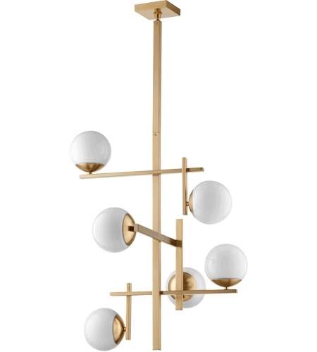 Current Atom Chandeliers For Quorum 628 6 80 Atom 25 Inch Aged Brass Chandelier Ceiling Light, Opal (View 2 of 10)