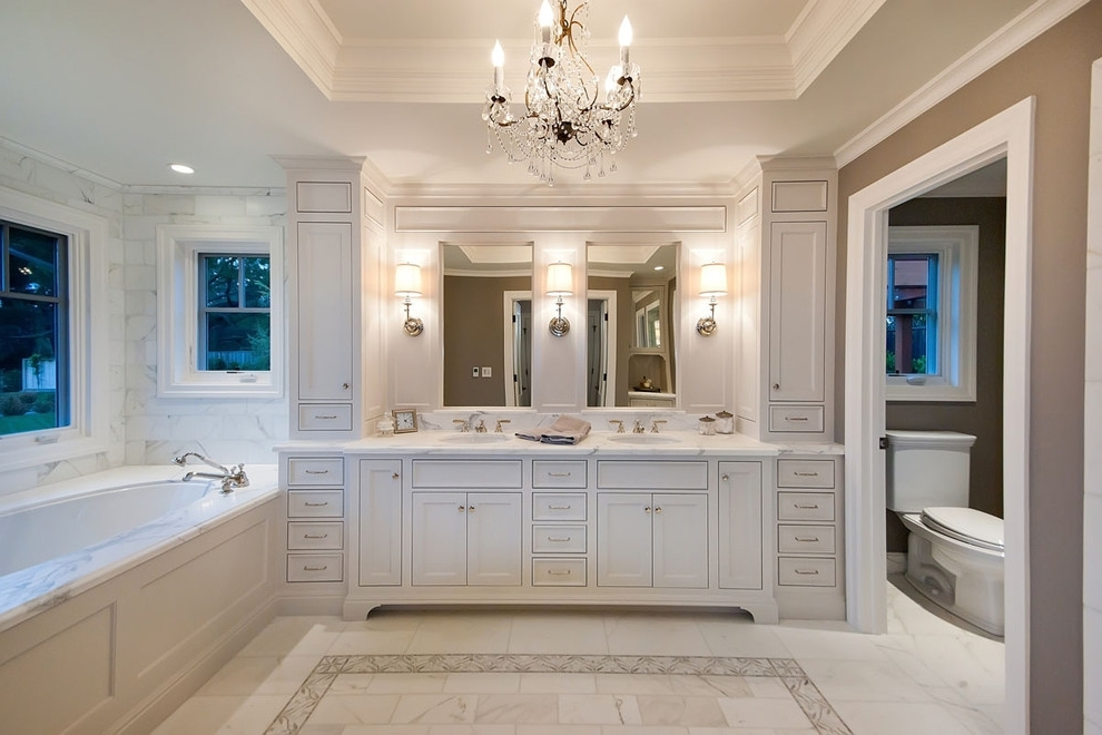 Current Bathroom Vanity Lighting Ideas Bathroom Traditional With Bath Intended For Chandelier Bathroom Vanity Lighting (View 4 of 10)