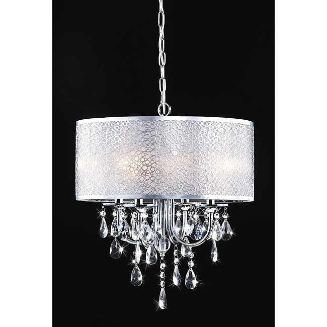 Current Chandelier Light Shades Inside Indoor 4 Light Chrome (grey)/ Crystal/ White Shades Chandelier (View 4 of 10)