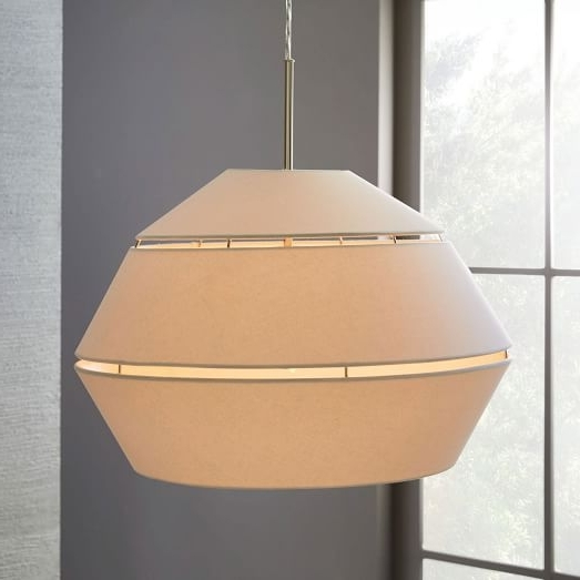 Current Fabric Drum Shade Chandeliers Throughout Geo Fabric Shade Pendant – Small Drum (Polished Nickel/white) (View 1 of 10)