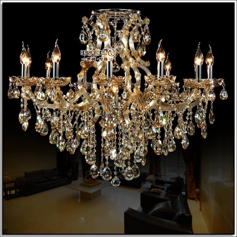 Current Large Glass Chandelier Intended For Best Selling Cognac Crystal Chandelier Light Large Glass Chandelier (View 4 of 10)