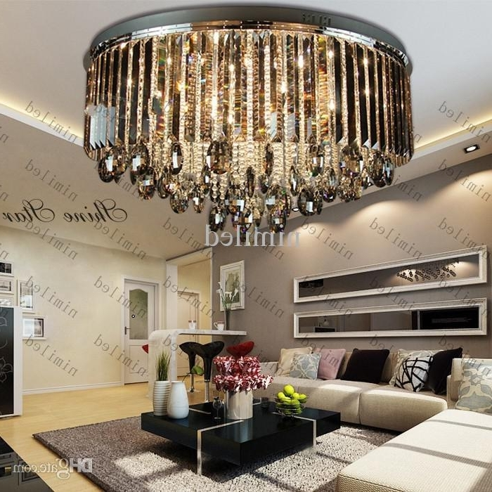Current Luxury Living Room Grey Crystal Ceiling Lights Lamp Fixtures Inside Chandelier Lights For Living Room (View 6 of 10)