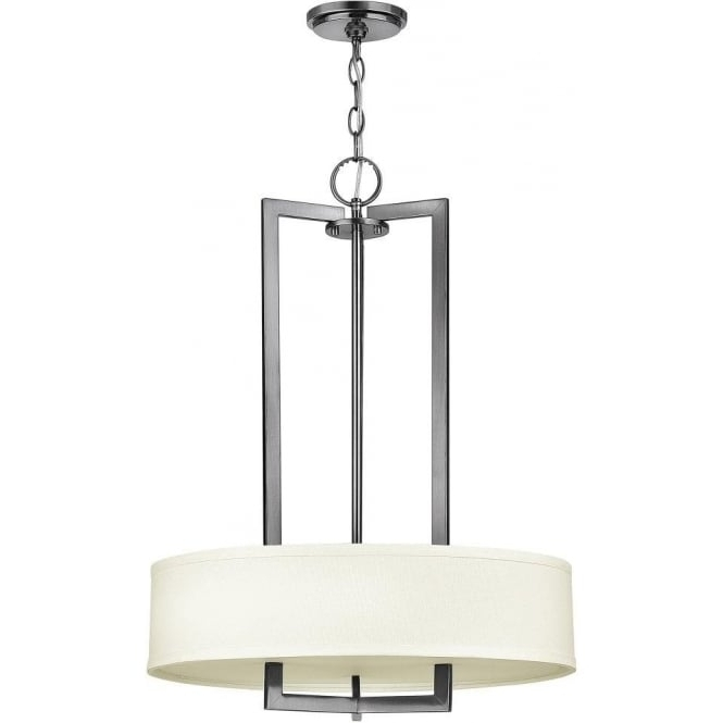 Current Modern Pendant Chandelier Lighting Regarding Large Art Deco Ceiling Light Or Chandelier, Nickel With White Shade (View 3 of 10)