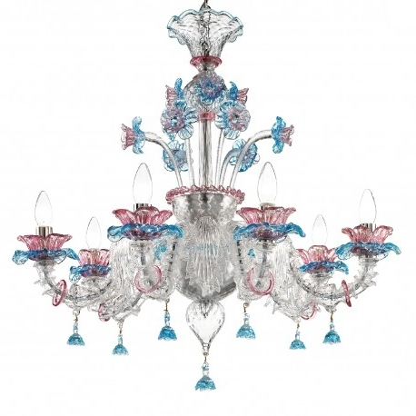 "Current Nada"" Murano Glass Chandelier – Murano Glass Chandeliers With Regard To Turquoise And Pink Chandeliers (View 3 of 10)"
