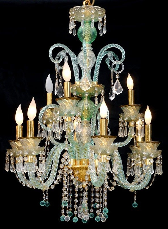 Current Turquoise Color Chandeliers With Murano Glass Chandelier Turquoise Color (View 2 of 10)