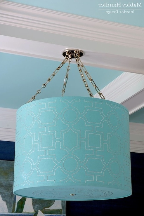 Current Turquoise Drum Chandeliers Pertaining To Turquoise Ceiling Design Ideas (View 3 of 10)