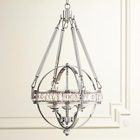 "Current Victoria Chrome 16"" Wide Clear Crystal Chandelier (View 5 of 10)"