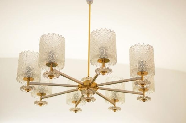 Current Vintage Brass And Glass Chandelier From Austria, 1970s For Sale At Throughout Brass And Glass Chandelier (View 9 of 10)