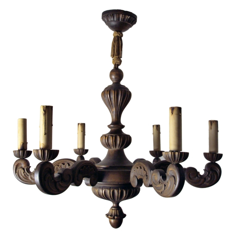 Current Vintage Style Chandeliers With Regard To Vintage Swedish Carved Wood Rococo Style 6 Arm Chandelier (View 9 of 10)
