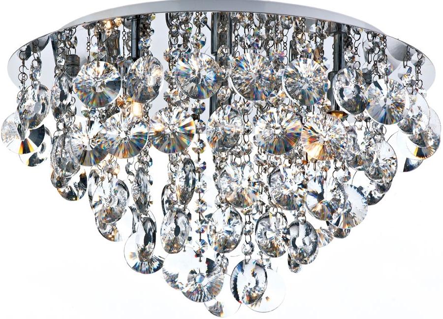 Dar Jester Modern 5 Lamp Flush Crystal Ceiling Light Chrome Jes5450 Inside Popular Flush Chandelier Ceiling Lights (View 2 of 10)