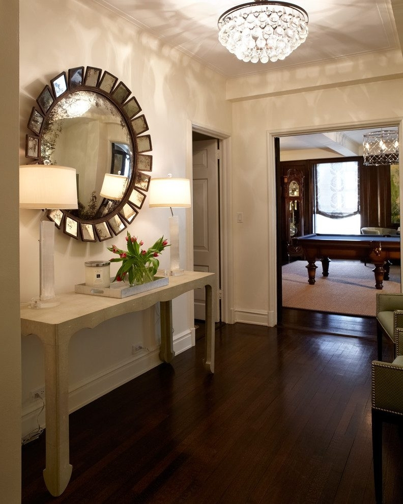 Delightful Crystal Chandelier Remodeling Ideas With Round Wall With Well Known Chandelier Mirror (View 6 of 10)
