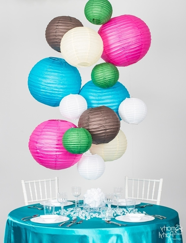 Diy Paper Lantern Chandelier – Smarty Had A Party Blog Regarding Most Up To Date Turquoise Lantern Chandeliers (View 4 of 10)