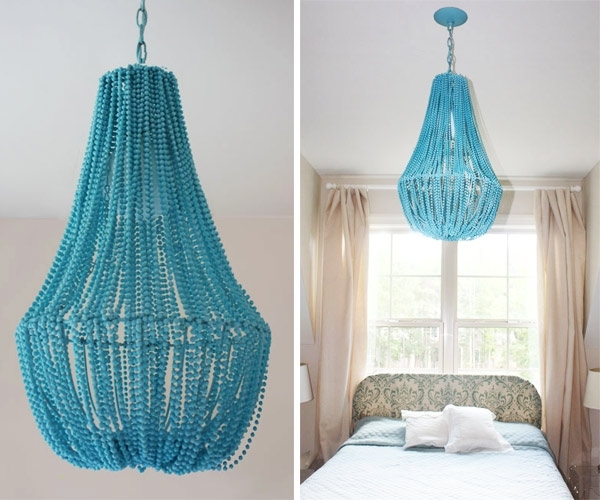 Diy Turquoise Beaded Chandeliers Pertaining To Latest Diy: Beaded Chandelier – Design & Trend Report – 2Modern (Gallery 3 of 10)
