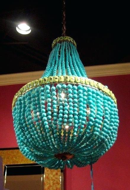 Diy Turquoise Beaded Chandeliers Regarding Most Popular Diy Turquoise Beaded Chandelier – Yamacraw (View 6 of 10)
