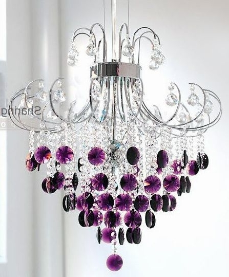 ♥ *.¸.*.silver And Crystal Chandelier With Purple Drops (View 1 of 10)