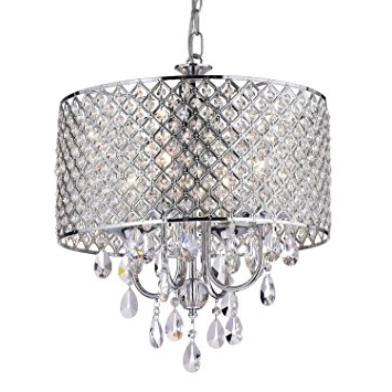 Edvivi Epg801Ch Chrome Finish Drum Shade 4 Light Crystal Chandelier With Most Recent Chrome And Crystal Chandeliers (Gallery 5 of 10)