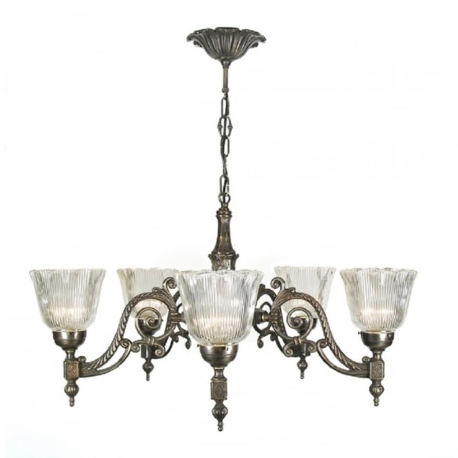 Edwardian Chandelier In Famous Victorian Or Edwardian Aged Brass Chandelier With Halophane Shades (View 4 of 10)