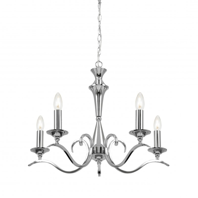 Endon Lighting Chandeliers In Most Recent Endon Lighting Kora Kora 5Ch Polished Chrome 5 Light Chandelier (View 4 of 10)