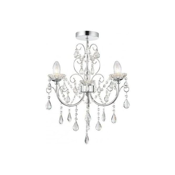 Endon Lighting Tabitha 3 Light Semi Flush Bathroom Chandelier In Inside Widely Used Endon Lighting Chandeliers (View 6 of 10)