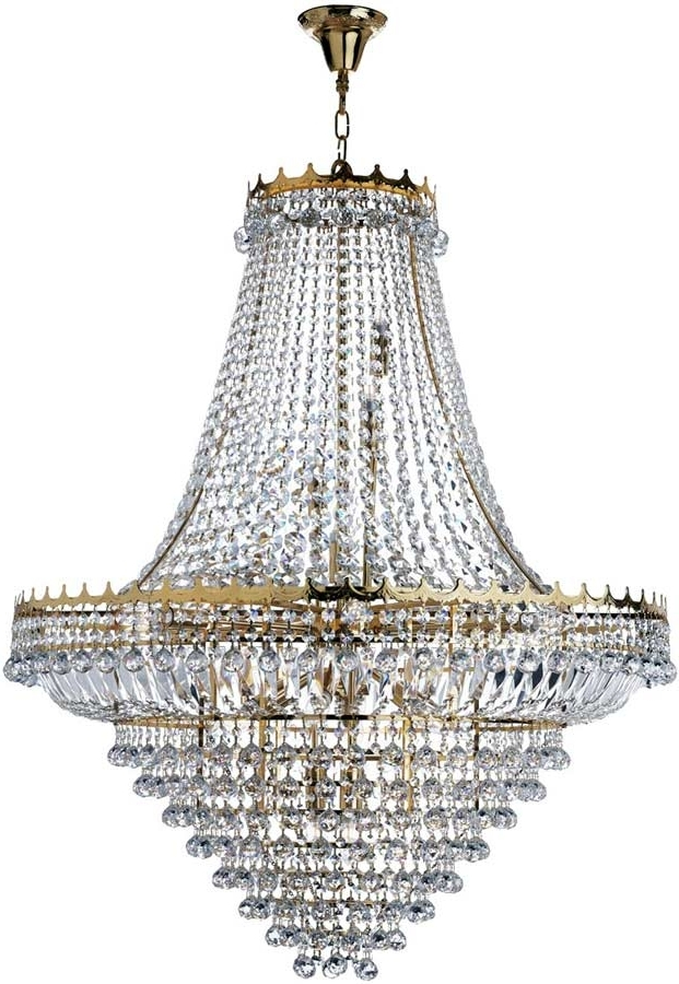 Extra Large Chandeliers Intended For Most Up To Date Versailles Extra Large Gold Finish 19 Light Crystal Chandelier 9112 (Gallery 7 of 10)