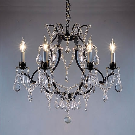 F83 3030 6 Gallery Wrought With Crystal Versailles Collection For Current Cast Iron Chandelier (View 9 of 10)