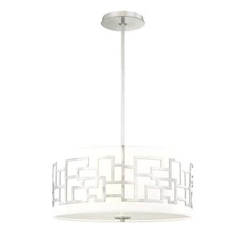 Fabric Drum Shade Chandeliers For Favorite Fabric Drum Shade Chandelier Modern 3 Light Ceiling Pendant W White (View 3 of 10)