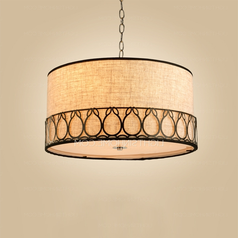 Fabric Drum Shade Chandeliers Inside Fashionable Rustic Drum Pendant Lighting 3 Light Fabric Shade (View 4 of 10)