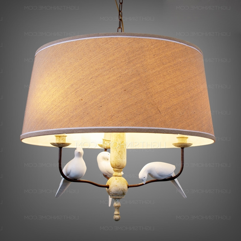 Fabric Drum Shade Chandeliers Within Fashionable Chandeliers With Drum Shades And 3 Light Fabric Material (View 8 of 10)