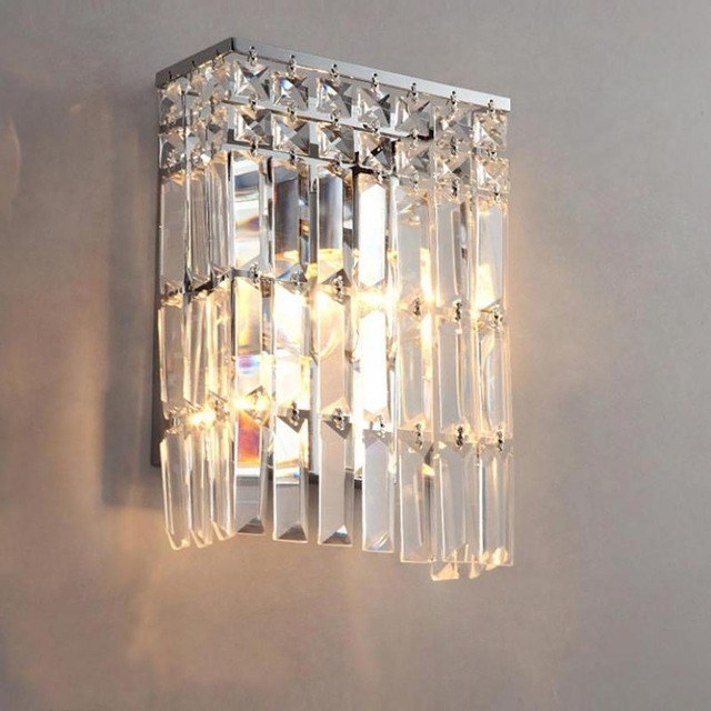 Famous Bathroom Chandelier Wall Lights Inside Svitz Clear Crystal Wall Sconce For Bar Bedroom Arandela Bathroom (View 8 of 10)
