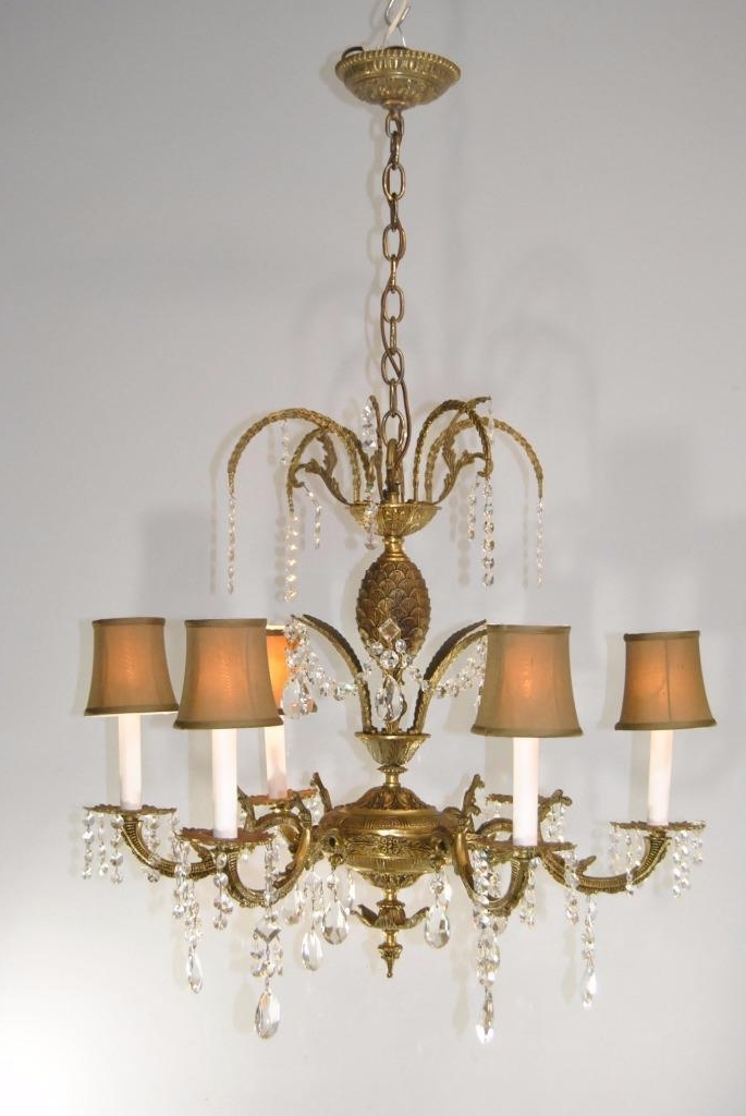 Famous Brass And Glass Chandelier Within Antique 6 Arm French Style Brass & Cutt Glass Chandelier Light (View 7 of 10)