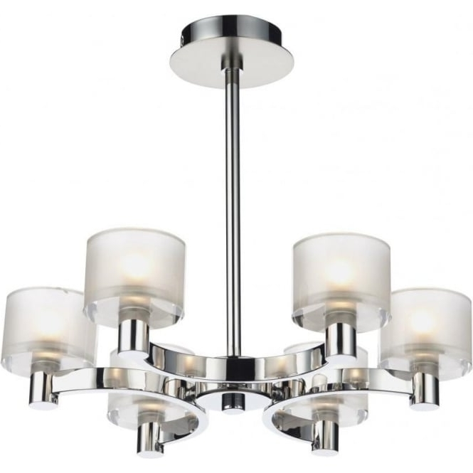 Famous Chrome And Glass Chandelier For Dar Lighting Eton 6 Light Chandelier Fitting In Satin And Polished (View 8 of 10)