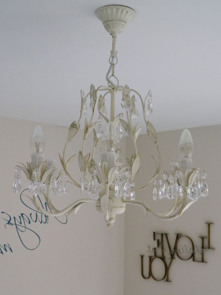 Famous Cream Chandelier Lights Pertaining To Large Cream Chandelier Light Fitting Shabby Vintage Chic Bedroom (View 3 of 10)