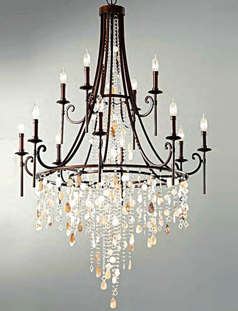 Famous Fashion Shop Bar Retro Black Shell Chandelier Crystal Lamparas Large Within Large Iron Chandelier (View 2 of 10)