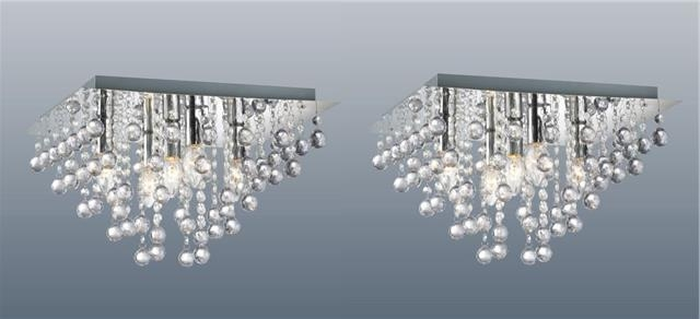 Famous Flush Fitting Chandeliers In Pair Of Square 5 Light Chrome Ceiling Lights Flush Crystal Droplet (View 1 of 10)