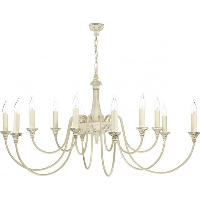 Famous Large British Made Antique Cream Chandelier With 12 Candle Lights Inside Large Cream Chandelier (Gallery 4 of 10)