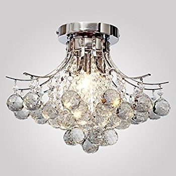 Famous Modern K9 Crystal Chandelier 3 Light(Chrome),mini Style, Flush In Crystal Chrome Chandeliers (View 6 of 10)
