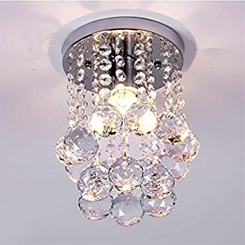 Famous Modern Small Chandeliers With Regard To Amazon: Mini Modern Crystal Chandeliers Flush Mount Rain Drop (View 3 of 10)