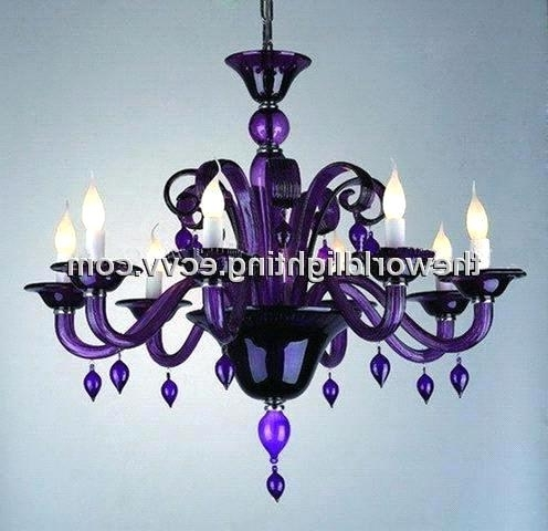 Famous Purple Crystal Chandeliers Inside Purple Glass Chandelier With 8 Lights (Chg0005) Purchasing, Souring (View 2 of 10)