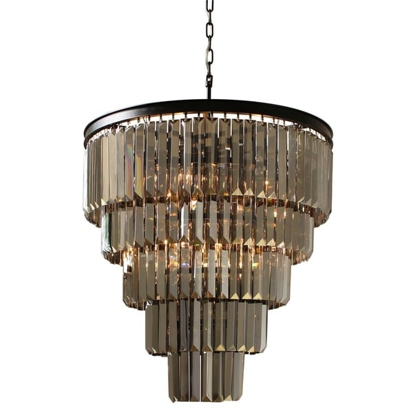 Famous Smoked Glass Chandelier With Regard To D'angelo 5 Tier Iron Round Fringe Crystal Smoked Glass Chandelier (View 3 of 10)