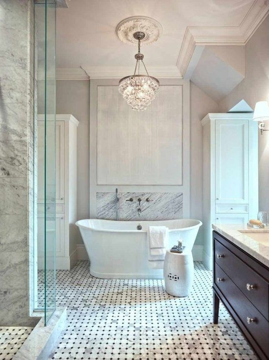 Fancy Bath Lighting: Inspiration And Tips For Hanging A Chandelier Intended For Widely Used Crystal Chandelier Bathroom Lighting (View 4 of 10)