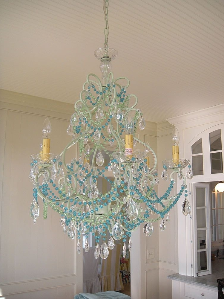 Fashionable Aqua Beaded Chandy! Switch Out The Bead Color To Vary The Look (But For Turquoise Blue Chandeliers (View 1 of 10)