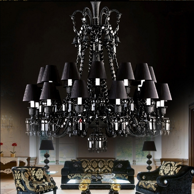 Fashionable Black Chandelier For Living Room 24 Arm Retro Large Black Crystal Intended For Large Black Chandelier (View 3 of 10)