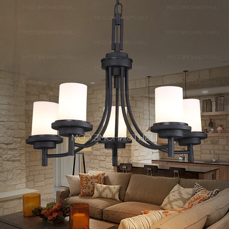 Fashionable Black Chandeliers With Shades Inside 5 Light Black Wrought Iron Chandeliers Cylinder Glass Shade (View 3 of 10)