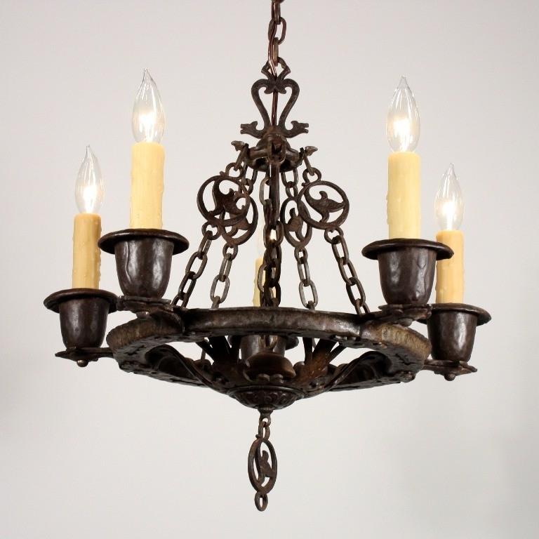 Fashionable Cast Iron Chandelier For Amazing Antique Five Light Figural Tudor Chandeliervirden, Cast (View 8 of 10)